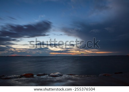 Mysterious late sunset over the Baltic Sea - stock photo