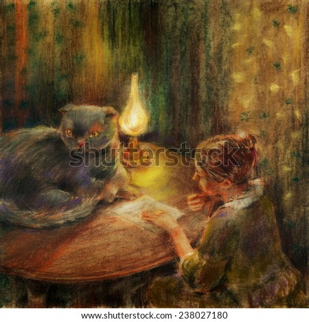 Mysterious letter. Illustration of  woman that is sitting at the table and reading a letter, a big cat sprawled across the table, a lamp illuminates the room. Pastel chalks on paper.  - stock photo