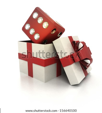 mysterious magic gift with lucky red dice inside render illustration - stock photo