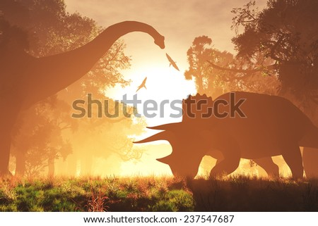 Mysterious Magical Prehistoric Fantasy Forest in the Sunset Sunrise 3D artwork