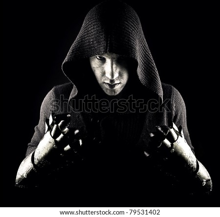 Mysterious man in abstract smoke - stock photo