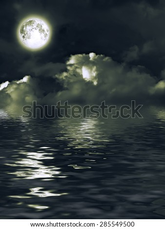 Mysterious moon with nightly clouds over the water. Elements of this image furnished by NASA - stock photo