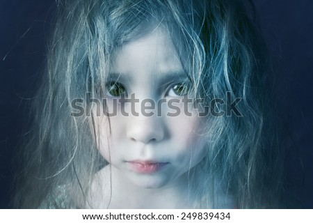 Mysterious mystic girl with blue hair - stock photo