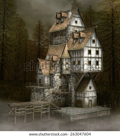 Mysterious old house - stock photo