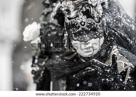 Mysterious portrait of a mask during the venice carnival - Italy - stock photo
