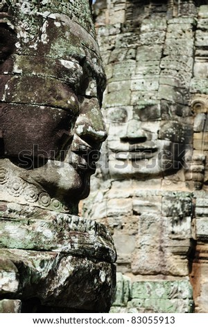 Mysterious Smile of Buddha at Bayon temple, Cambodia - stock photo