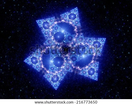 Mysterious spaceship on night sky, ufo, computer generated abstract background - stock photo