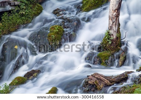 Mysterious stream with stones in the wood - stock photo