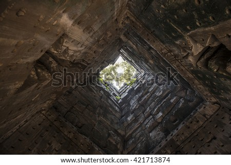 Mysterious tunnel to the light - stock photo