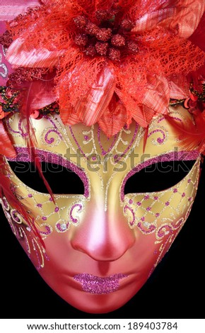 mysterious Venetian mask on a black background - stock photo