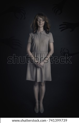 Mysterious woman ghost on dark background. Halloween scene