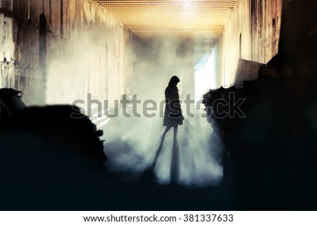 Mysterious Woman. Mystery Woman In Mist Silhouette