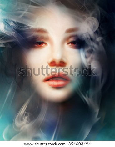 mysterious woman, smoke background. digital art - stock photo