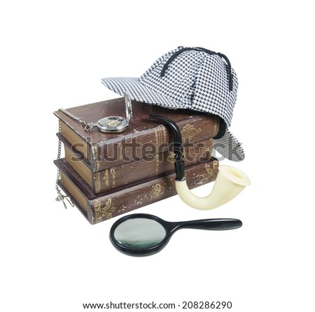 Mystery Books with Deerstalker Cap, Magnifier, Pipe and Pocket Watch - path included - stock photo