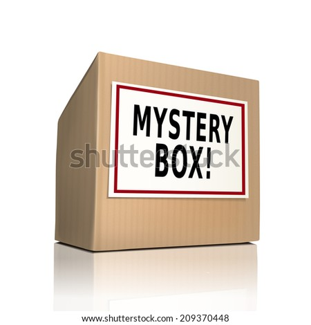 mystery box on a paper box over white background - stock photo