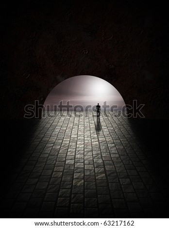 Mystery Man in Tunnel - stock photo