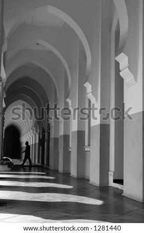 mystery man walking - stock photo