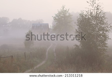 Mystery soft autumn countryside road with fog in the morning background  - stock photo