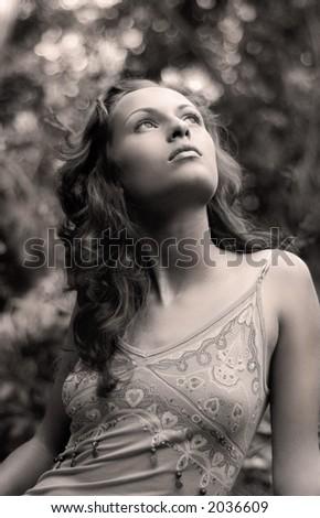 mystery woman - stock photo