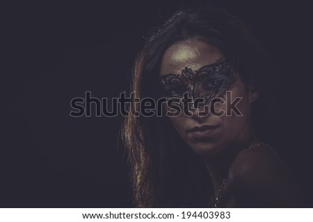 Mystery Woman mask, sensual lady with venetian and gothic style