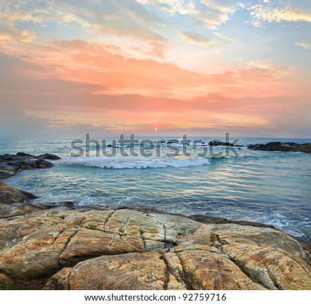 Mystic coast sunset on a tropical Islands - stock photo