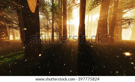 Mystic Fantasy Woods with Lightrays and Fireflies 3D Illustration - stock photo