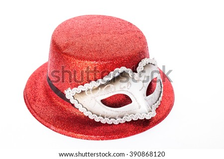 Mystic mask and glitter hat - stock photo