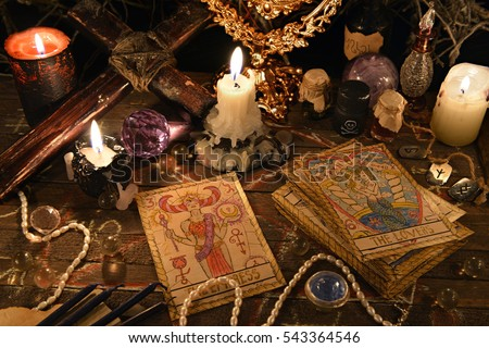 Mystic Ritual Tarot Cards Vintage Objects Stock Photo