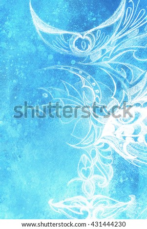 mystic woman eye with floral ornament. Drawing on paper, Color effect. Eye contact. - stock photo