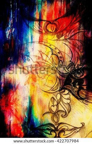 mystic woman face with floral ornament. Drawing on paper, Color effect. Eye contact - stock photo