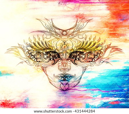 mystic woman face with floral ornament. Drawing on paper, Color effect. Eye contact. - stock photo