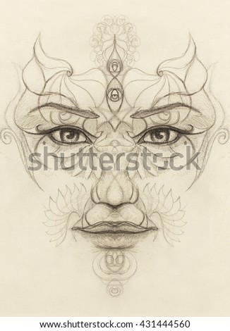 mystic woman face with floral ornament. Drawing on paper, Eye contact. - stock photo