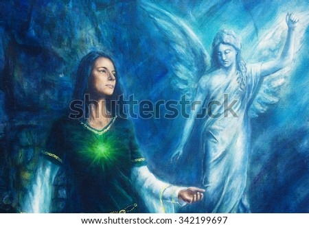 mystic woman  in historical dress with ornament and angel. Spiritual concept. Painting on canvas with abstract blue background