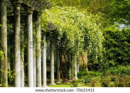 Mystical ancient garden - stock photo