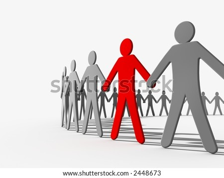 Mystical circle. figures holding hands together in a circle. One figure is marked red - stock photo