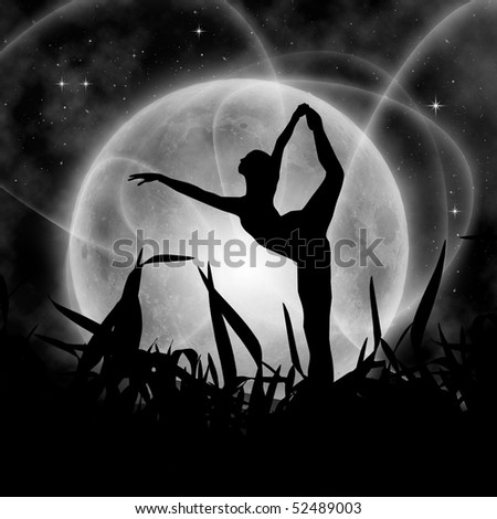 Mystical night with full moon and ballerina - stock photo