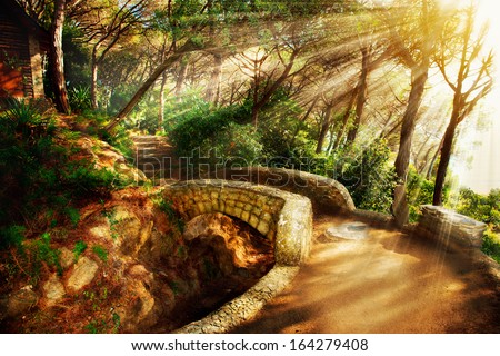 Mystical Park. Old Trees and Ancient Stone Bridge. Pathway. Misty Forest. Fantasy Landscape - stock photo