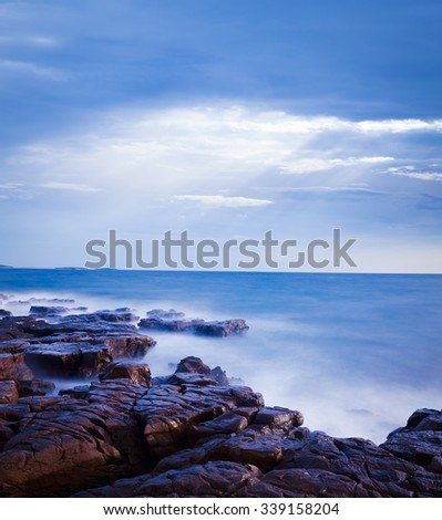 Mystical Seascape at Evening. Adriatic Sea in Croatia. Long Exposure. Smooth Water. Toned Photo with Copy Space. - stock photo