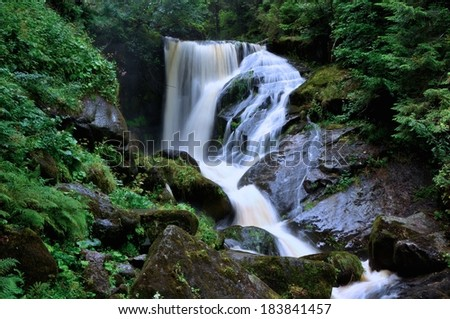 Mystical view of the waterfall in Triberg