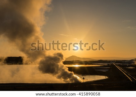 Myvatn lake and surrounding geo thermal area -  Views around Iceland, Northern Europe in winter with snow and ice