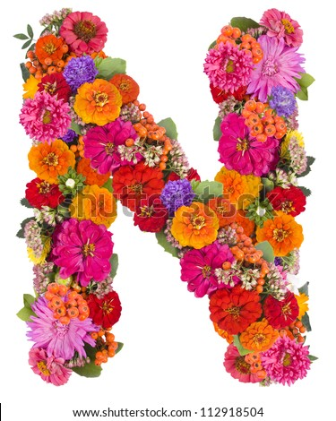 S Alphabet In Flowers flower alphabet isolated on white - stock photo