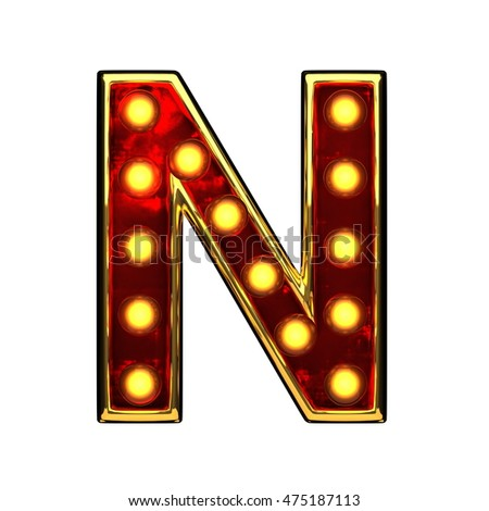 n isolated golden letter with lights on white. 3d illustration