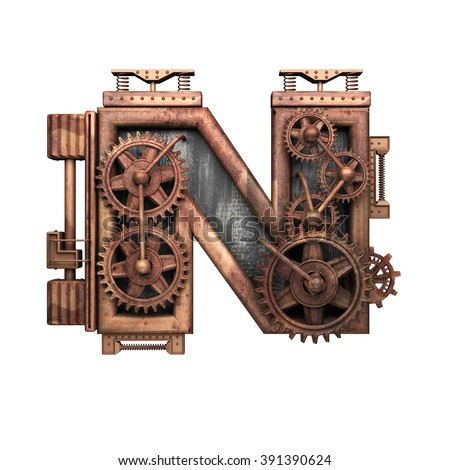 n isolated rusted letter with gears on white