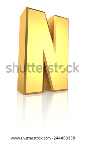 N letter. Gold metal letter on reflective floor. White background. 3d render - stock photo