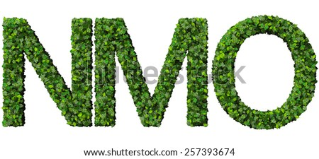 N M O alphabet letters made from green leaves isolated on white background. - stock photo
