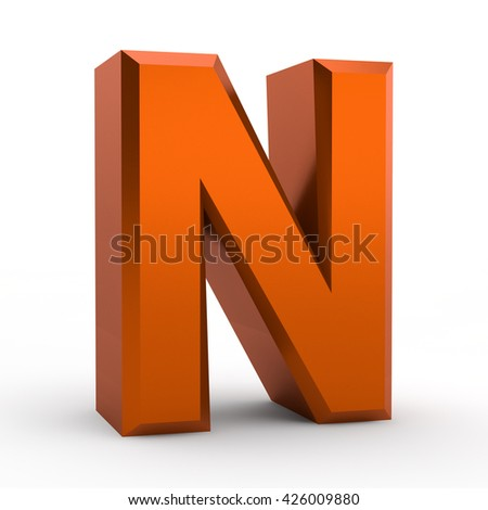 N orange alphabet word on white background illustration 3D rendering