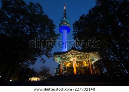 N Seoul tower with pavilion in Namsan, Seoul, South Korea - stock photo