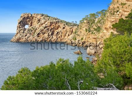 Na Foradada Cape in the coast of Majorca (Balearic Islands - Spain) - stock photo