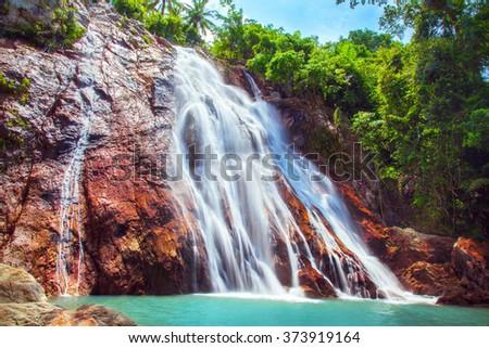 Na Muang 1 waterfall, Koh Samui, Thailand - stock photo