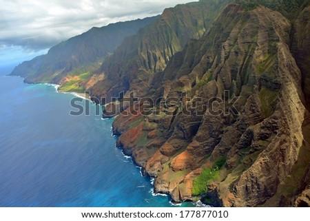 na pali coast, kauai, as seen from a helicopter  - stock photo